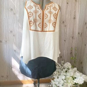 NWT! Asymmetrical Embroidered Boho Sleeveless Top